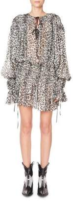 Redemption Long-Sleeve Tie-Neck Keyhole Mini Dress