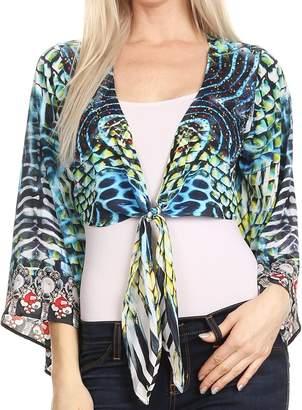 fb7ed6e6c080 at Amazon Canada · P20 Sakkas Amita Printed Embellished Kaftan Front Tie  Kimono Sleeve Crop Top Shrug - 17032-