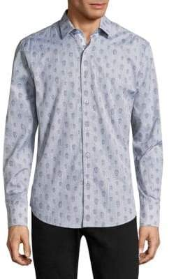 Robert Graham Skull Cotton Casual Button-Down Shirt