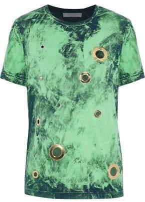 Pierre Balmain Eyelet-Embellished Bleached Cotton-Jersey T-Shirt