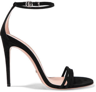 fd0dd8654ad Gucci Crystal-embellished Suede Sandals - Black