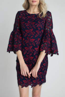 Minuet Navy and Red Lace Flare Sleeve Dress