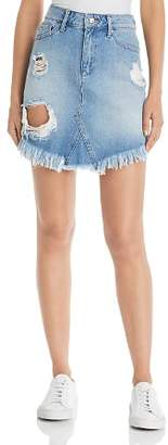 Mavi Jeans Sonia Destructed Denim Skirt in Light Ripped Vintage