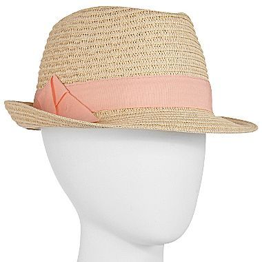 JCPenney Straw Fedora With Ribbon