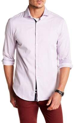 Michelson's Bright Purple Twill Stripe Print Slim Fit Shirt