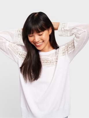 White + Warren Cotton Silk Crochet Lace Top