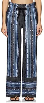 Lemlem Women's Lucy Folkloric-Striped Cotton-Wool Pants - Blue