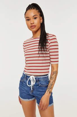 Ardene Belted Demi-High Rise Jean Shorts