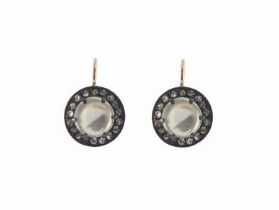 Andrea Fohrman Small Oxidized Kat Earrings in Moonstone with Diamonds
