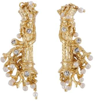 Les Nereides ATLANTIDE COLUMNS AND CORAL EARRINGS - Gold - O/S