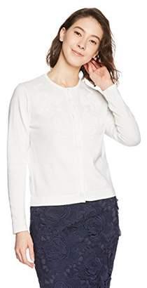 Naracamicie (ナラカミーチェ) - (ナラ カミーチェ)NARA CAMICIE フラワービジュー刺繍クルーカーディガン 30-81-11-902 02 ホワイト 1
