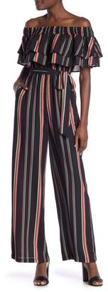 17ee4105a8a22 Flying Tomato Off-the-Shoulder Multicolor Stripe Tie Waist Jumpsuit