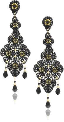 Miguel Ases Onyx and Swarovski Lace Beaded Grand Drop Earrings