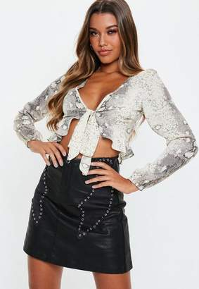 Missguided Black PU Studded Faux Suede Detail Mini Skirt