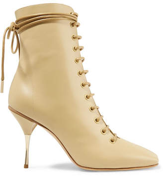 Petar Petrov Stella Lace-up Leather Ankle Boots - Beige