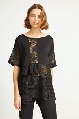 French Connenction Anes Lace Jersey Top