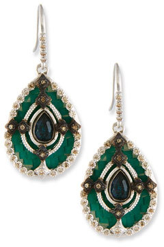 ArmentaArmenta New World Teal Mosaic Earrings with Champagne Diamonds