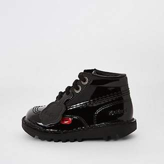 Kickers Mini kids black patent lace-up boots