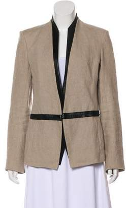 Helmut Lang Leather-Trimmed Collarless Jacket