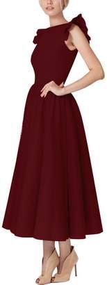 YMING Women's Retro V Neck Half Sleeve High Waist 1950'S Party Swing Dresses L