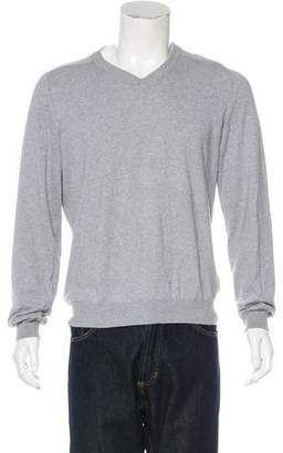 Maison Margiela Suede-Trimmed V-Neck Sweater