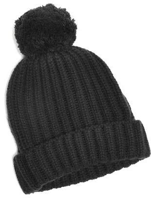 Corgi Big Pom Knit Cashmere Hat in Charcoal