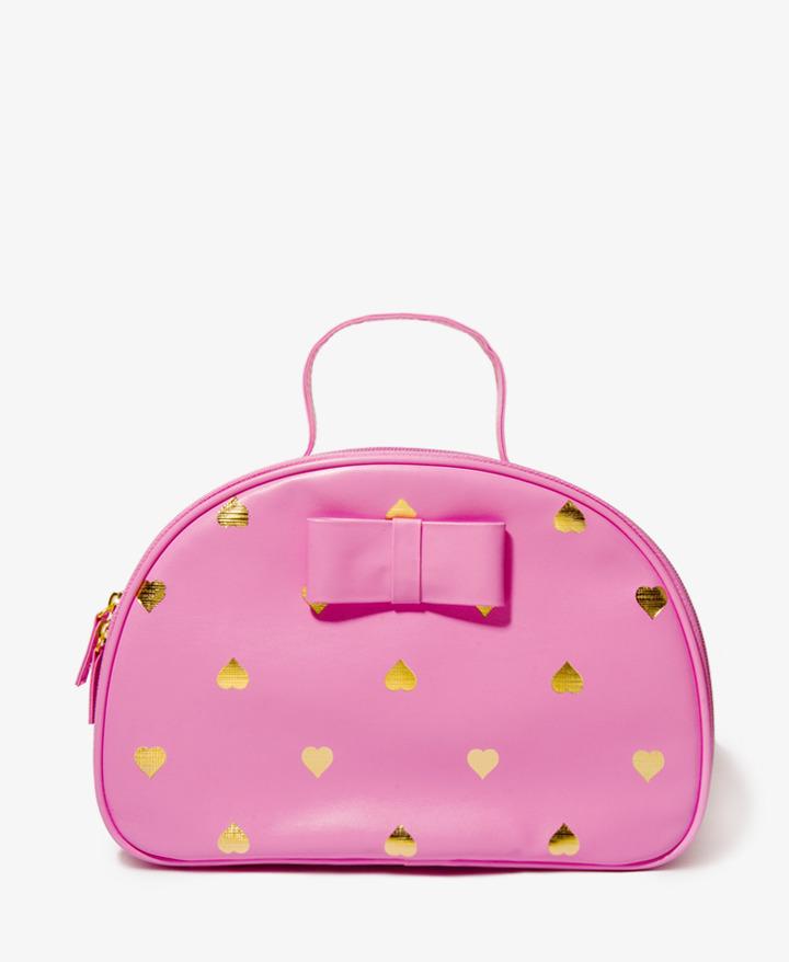 Forever 21 Metallic Heart Cosmetic Bag