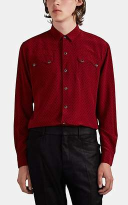 Saint Laurent Men's Triangle-Motif Silk Western Shirt - Black