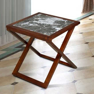 GranRest X Marble Top Side Table, Black, Brown