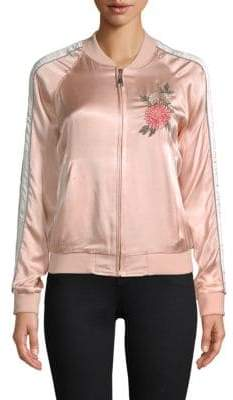 Floral Embroidered Satin Bomber Jacket