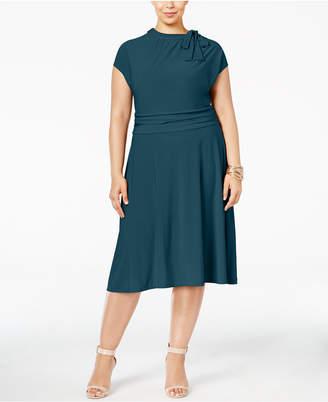 Love Squared Plus Size Tie-Neck A-Line Dress
