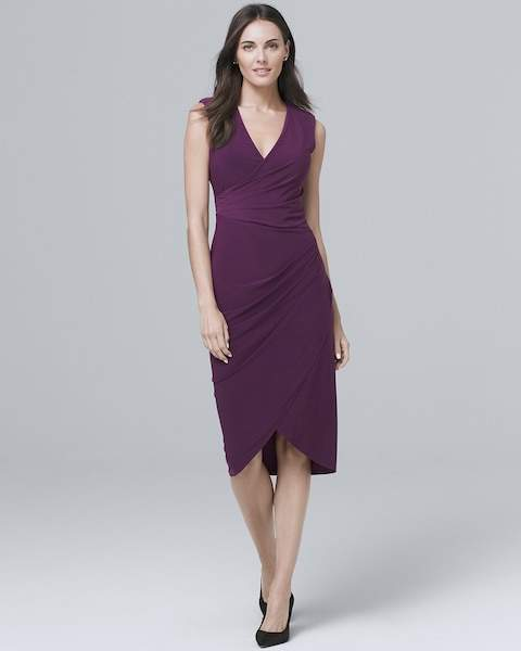 Whbm Ruched-Detail V-Neck Knit Sheath Dress