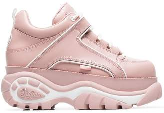 Buffalo David Bitton pink and white Classic leather flatform sneakers