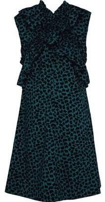 Marni Ruffle-Trimmed Printed Cotton-Poplin Dress