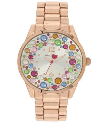 Betsey Johnson Multi-Colored Stone Dial Bracelet Watch