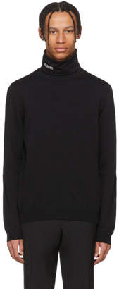 Valentino Black Embroidered Logo Turtleneck