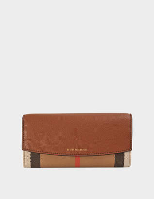 Burberry House Check Porter Flap Wallet in Tan Canvas and Calfskin