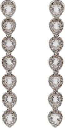 Ef Collection Diamond And White Topaz Teardrop Earrings