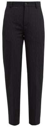 Balenciaga High Rise Striped Trousers - Womens - Navy Stripe