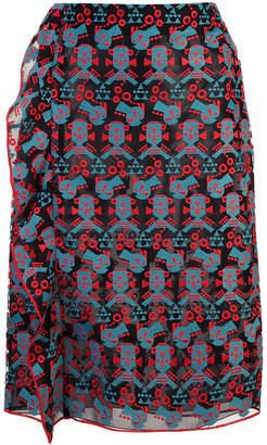 Emporio Armani ruffled embroidered pencil skirt