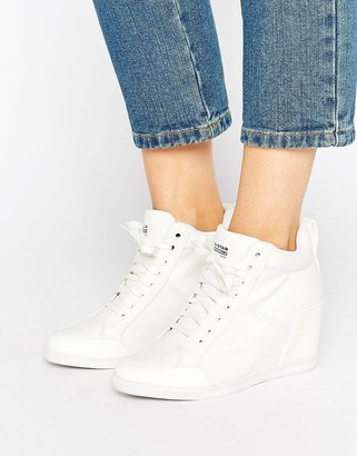 G-Star New Labor White Denim Wedge Sneakers $190 thestylecure.com