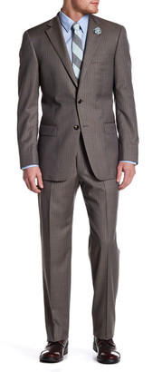 Hart Schaffner Marx Brown Pinstripe Two Button Notch Lapel Wool Suit $795 thestylecure.com