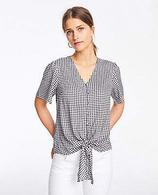 Ann Taylor Tall Checked Knot Front Top