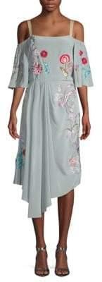 Temperley London Woodland Silk Cold-Shoulder Midi Dress