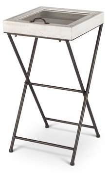 Gerson Lone Elm Studios 14.2-Inch-by-27-Inch Wood Collectible Shadow Box Table Top With Metal Folding Legs, White