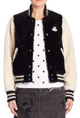 Marc Jacobs Mickey Lamb Shearling Varsity Jacket