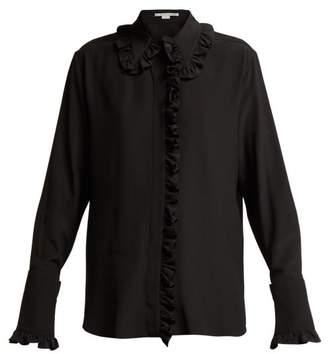Stella McCartney Ruffled Silk Crepe De Chine Blouse - Womens - Black