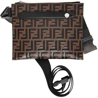 Fendi Ff Embossed Leather Messenger Pouch