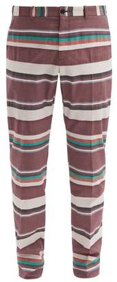Connolly - Striped Cotton Poplin Tailored Trousers - Mens - Red