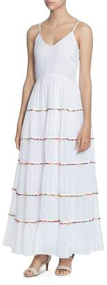 Catherine Malandrino Soumaya Tiered Ruffle Pom-Pom Maxi Dress